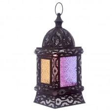 Black Intricate Glass Moroccan Style Standing Lantern