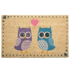 Coir Door Mat - Love Owls with Natural Background