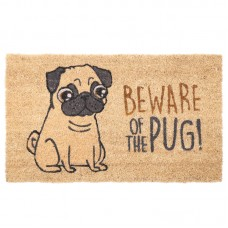 Coir Door Mat - Beware of the Pug