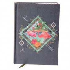 Hardback A6 Lined Note Book - Funky Flamingo