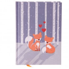 Hardback A6 Lined Note Book - Cute Love Foxes