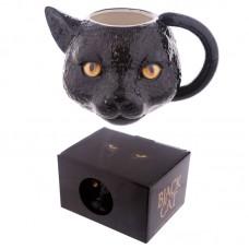 Novelty Black Cat Head Shaped Ceramic Mug