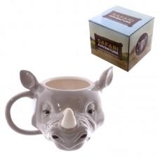 Novelty Rhino Head Shaped Ceramic Mug