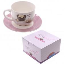 Cappuccino Mug and Saucer - Pug