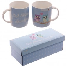 Cute Love Owls New Bone China Mug Set for 2