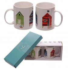 Beach Hut Design New Bone China Set of 2 Mugs