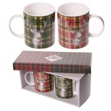 Tartan Stag Pattern Set of 2 New Bone China Mugs
