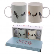 Swallows Design New Bone China Set of 2 Mugs