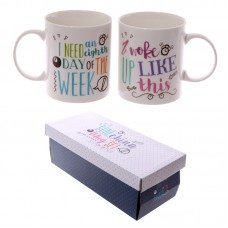 Fun New Bone China Mug - Slogans Set of 2