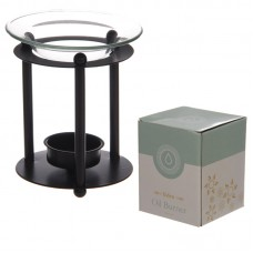 Black Metal Rod Oil Burner with Glass Dish