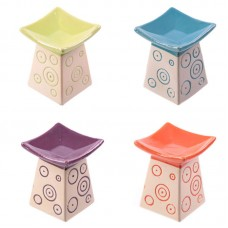 Bright Coloured Swirl Pattern Small Ceramic Oil Burner