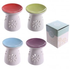 Bright Coloured Small Flower Pattern Ceramic Oil Burner