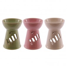 Tall Simple Coloured Ceramic Oil Burner with Cut Out Design
