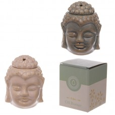 Ceramic Buddha Head Design Crackle Glazed Oil Burner