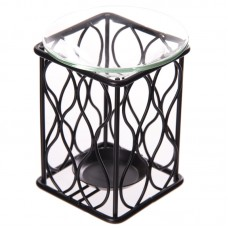 Wavy Design Metal Oil Burner with Glass Dish