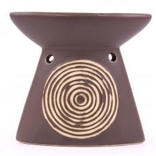 Spiral Design Brown Ceramic Oil Burner