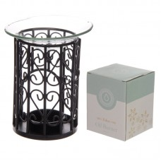 Decorative Metal Spirals Design Oil Burner with Glass Dish