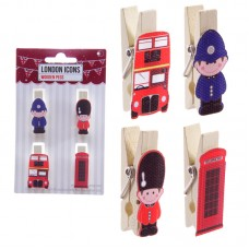 Funky London & UK Icons Pack of 4 Decorative Pegs