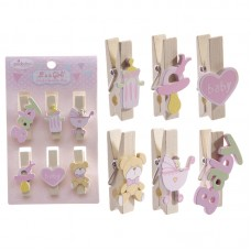 New Baby Girl Design Pack of 6 Decorative Pegs