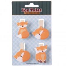 Fun Fox Design Pack of 4 Decorative Craft Pegs
