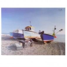 Fun Fishing Boats on Beach 3D Photo Card Backed Wall Art