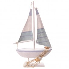 Novelty Seaside Decoration - Boat with Shells and Nets
