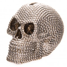 Fantasy Jewelled Silver Skull Head 9cm Money Box