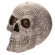 Fantasy Jewelled Silver Skull Head 14.5cm Money Box
