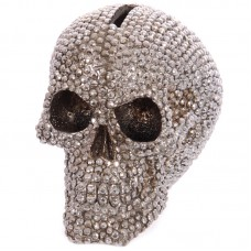 Fantasy Jewelled Silver Skull Head Money Box
