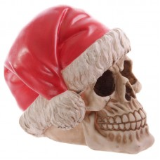 Funky Skull Decorative Wearing Santa Hat