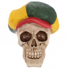 Gothic Skull Decoration wearing Rasta Hat