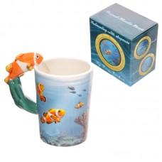 Novelty Sealife Design Clown Fish Shaped Handle Ceramic Mug