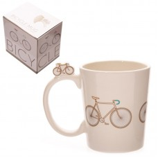 Funky Retro Bicycle Design Shaped Handle Ceramic Mug