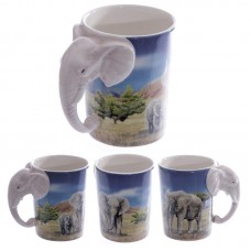 Ceramic Safari Printed Mug with Elephant Head Handle