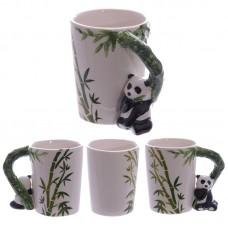 Ceramic Jungle Mug with Panda and Bamboo Handle