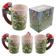 Novelty Ceramic Jungle Mug with Parrot Shaped Handle
