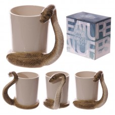 Fun Snake Shaped Handle Brown Snake Ceramic Mug