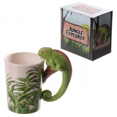 Fun Rainforest Decal Chameleon Ceramic Mug
