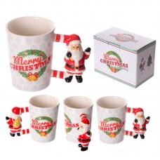 Fun Christmas Ceramic Mug with Santa Shaped Handle