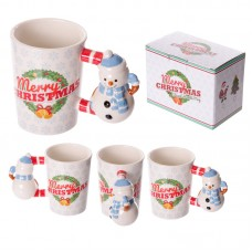 Fun Christmas Ceramic Mug with Snowman Shaped Handle