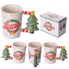 Fun Christmas Ceramic Mug with Xmas Tree Shaped Handle