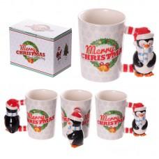 Novelty Christmas Penguin Shaped Handle Ceramic Mug