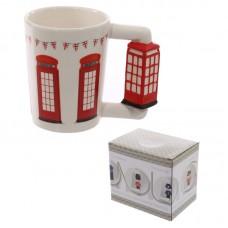 Novelty Ceramic Shaped Handle Telephone Box Mug