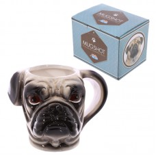 Novelty Shaped Handle Ceramic Pet Mug - Pug Head
