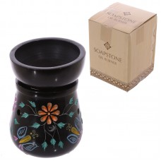Soapstone Oil Burner - Black with Flower and Butterfly Pattern