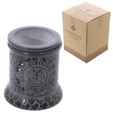 Soapstone Oil Burner - Grey with Sun Pattern