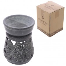 Soapstone Oil Burner - Grey with Floral Pattern