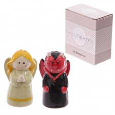 Novelty Naughty and Nice Ceramic Salt and Pepper Set