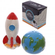 Ceramic Space Rocket and Planet Earth Salt and Pepper
