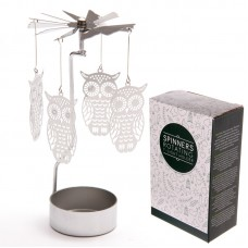 Owl Design Metal Tealight Spinner